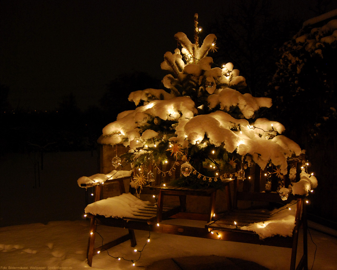 Seelenfarben Weihnachten.Weihnachten Schnee Tannenbaum Christbaumschmuck